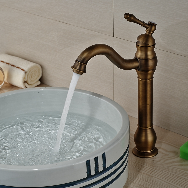 Wholesale And Retail Classic Antique Brass Bathroom Tall Basin Faucet Single Handle Hole Vanity Sink Mixer Tap Hot and Cold micoe hot and cold water basin faucet mixer single handle single hole modern style chrome tap square multi function m hc203