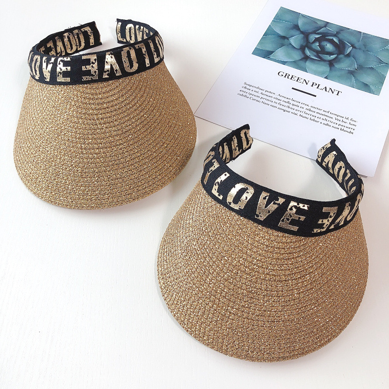 Parent-child headband style top visor hat LOVE big straw hat boys and girls summer no top sun hats for womens summer caps(China)