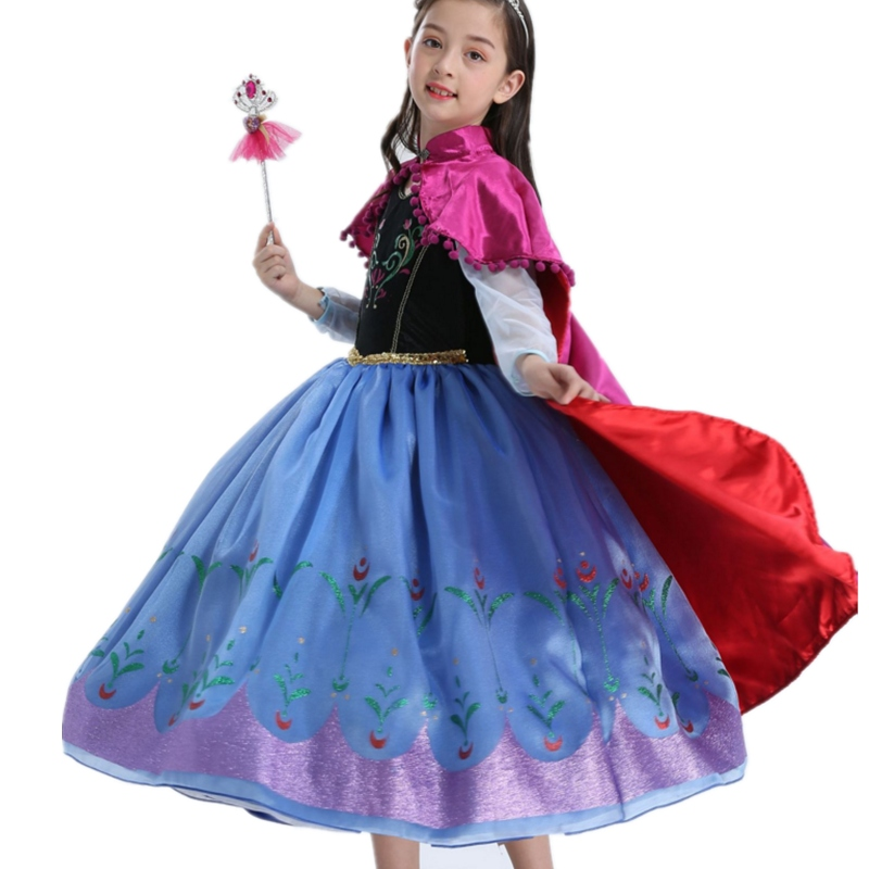FINDPITAYA Girls Princess Anna Costume with Long Cloak Children Deluxe Snow Queen Elsa Anna Dress Halloween Kids Cosplay Dress