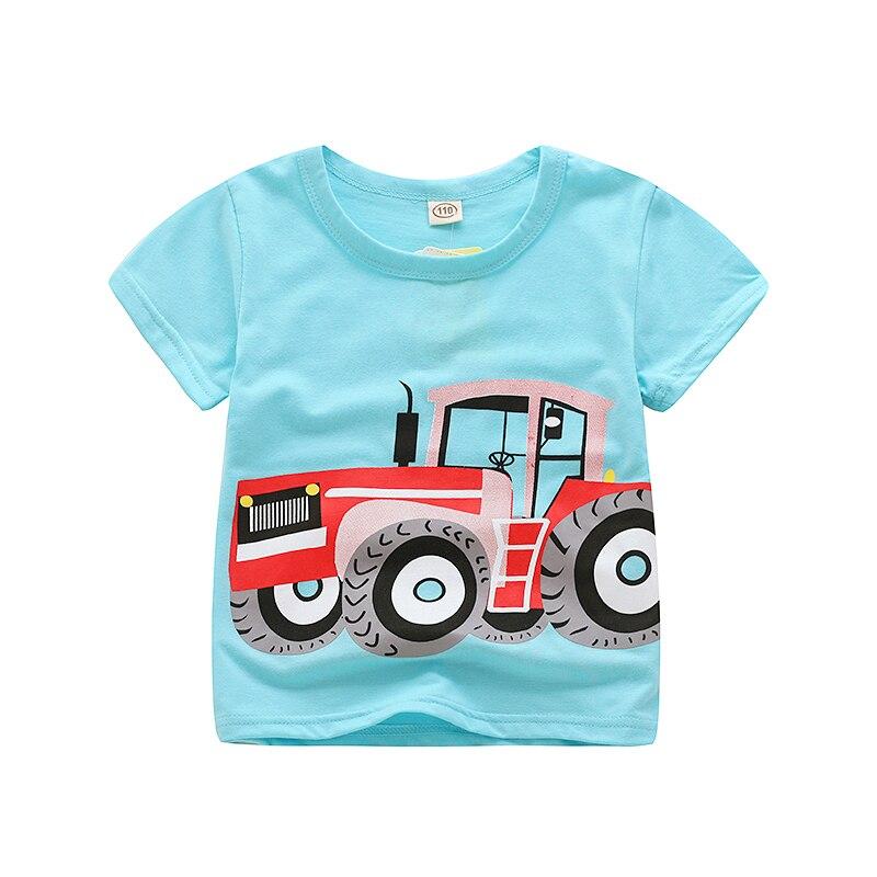 V-TREE; летние рубашки для мальчиков; хлопковые детские футболки; цветные топы для девочек; детская блузка с короткими рукавами; футболки для малышей; одежда для малышей - Цвет: tractor