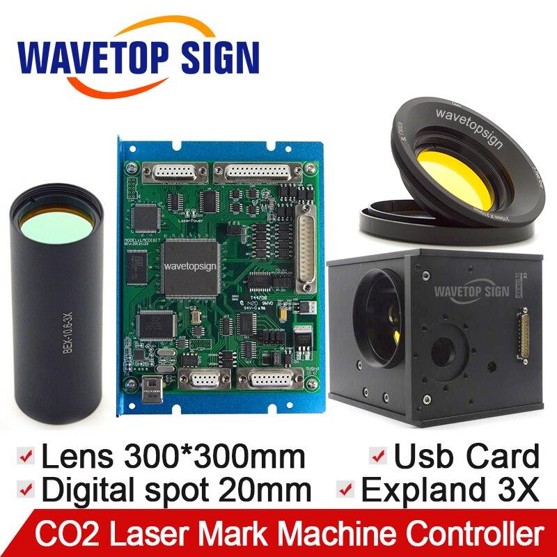CO2 лазерной гальванометр цифрового сигнала 1 комплекты + сканирования объектив 300*300 мм + расширитель пучка 3X + карта контроля USB цифрового сиг...