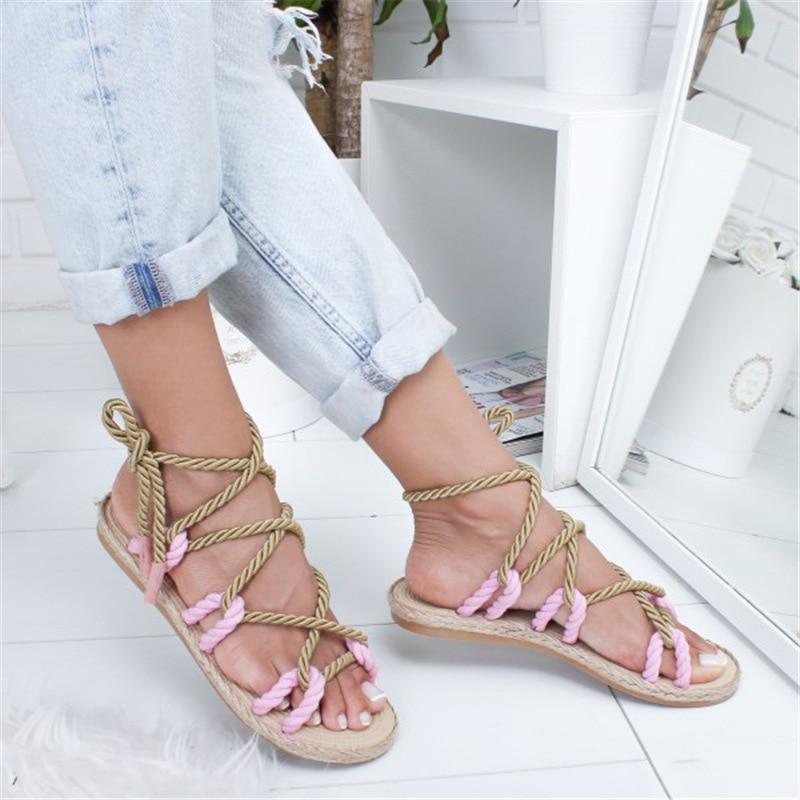 hot!! Women Sandals Fashion Summer Shoes Woman Flat Sandals Hemp Rope Lace Up Gladiator Sandals Non-slip Beach Chaussures Femme