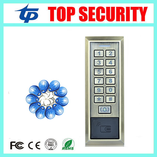 IP65 waterproof out door door security access control system 8000 users standalone 125KHZ RFID EM card reader access controller waterproof card reader 125khz rfid card reader door access control system for home security for home security f1705h