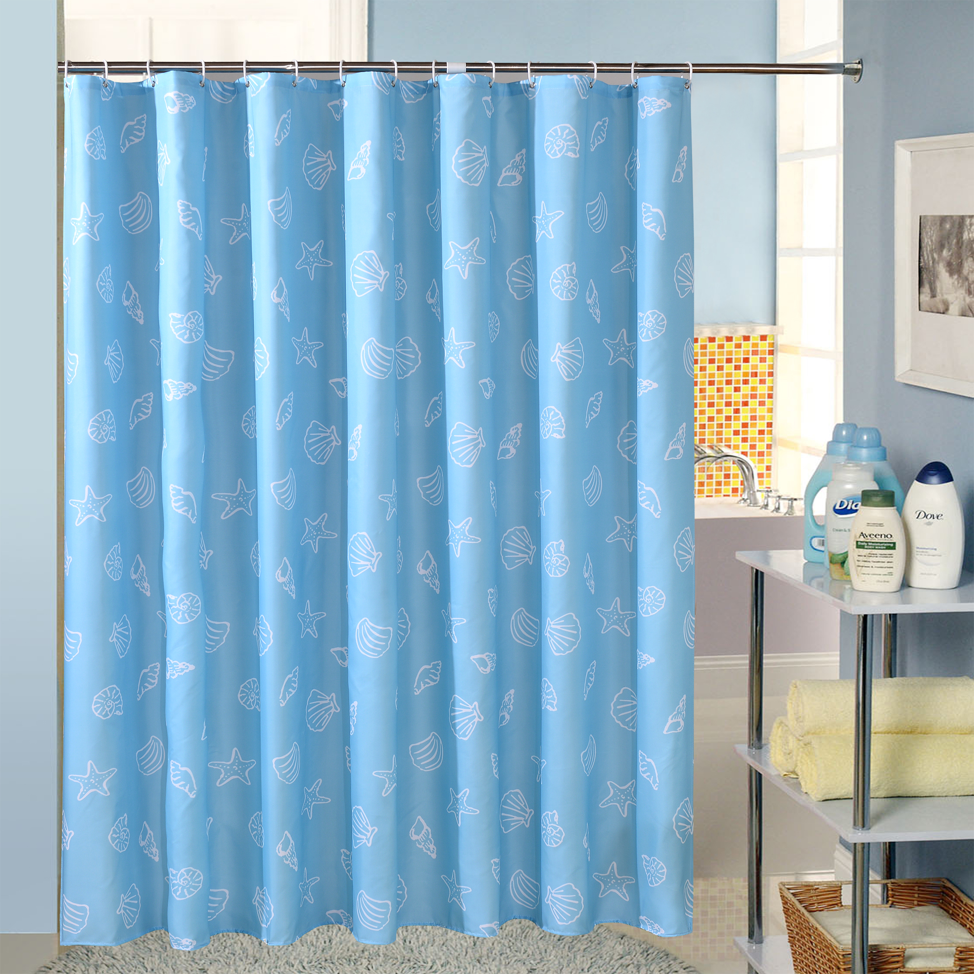 Blue curtains for bathroom - Starfish Polyester Terylene Blue Sea Life Seashell Waterproof Shower Curtain Thicken Shower Curtain Bathroom Curtain With