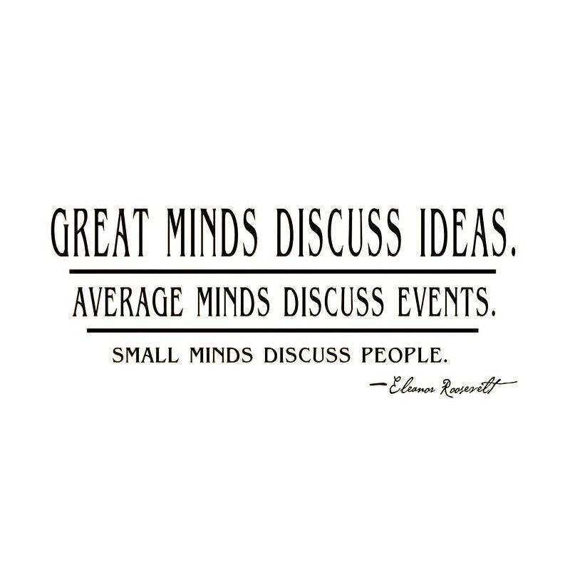 DCTOP <font><b>Great</b></font> <font><b>Minds</b></font> Discuss Ideas Quotes Wall Sticker Text Living Room Decorative Wall Decor Home Decor