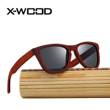 X-WOOD New Fashion Burgendy Wood Frame Sunglasses Men Women High Quality Wooden Frame Bamboo Box Sun Glasses