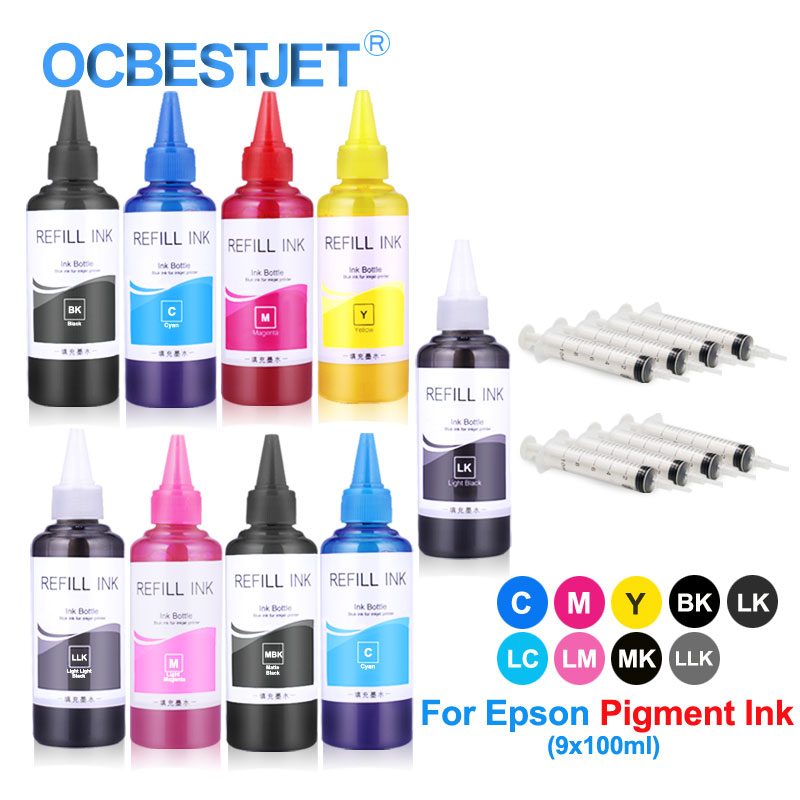 US $45 2 |9x100ml Refill Pigment Ink Bottle For Epson P600 P608 P800 P807  P808 3800 3850 3880 3890 Printer Ink (BK C M Y LC LM LK LLL MK)-in Ink