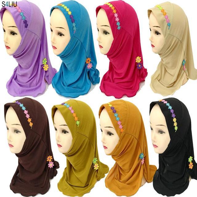 Ramadan Muslim Kids Girls Hijab Scarf Islamic Flower Caps Shawls Amira Headscarf Wrap Headwear Turban Arab Children Underscarf