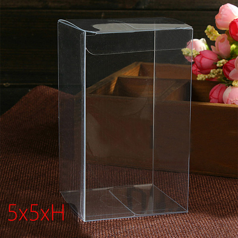 50pcs 5x5xH Plastic Box Storage PVC Box Clear Transparent Boxes For Gift Boxes Wedding/Tool/Food/Jewelry Packaging Display DIY