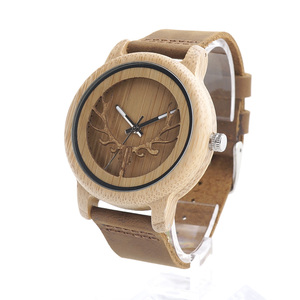 BOBO BIRD A27 Skeleton Watch With Deer Buck Head Design Bamboo Wood Quartz Watches With White Real Leather Band in Box Relogio