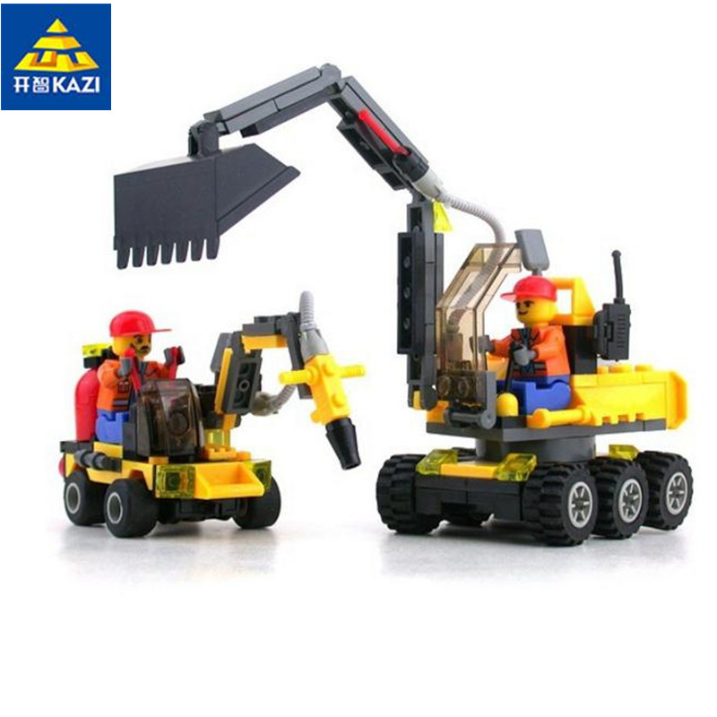 KAZI 6092 City Construction Excavator Building Block sets City Toys Brinquedos Educational Bricks Gift loz mini diamond block world famous architecture financial center swfc shangha china city nanoblock model brick educational toys