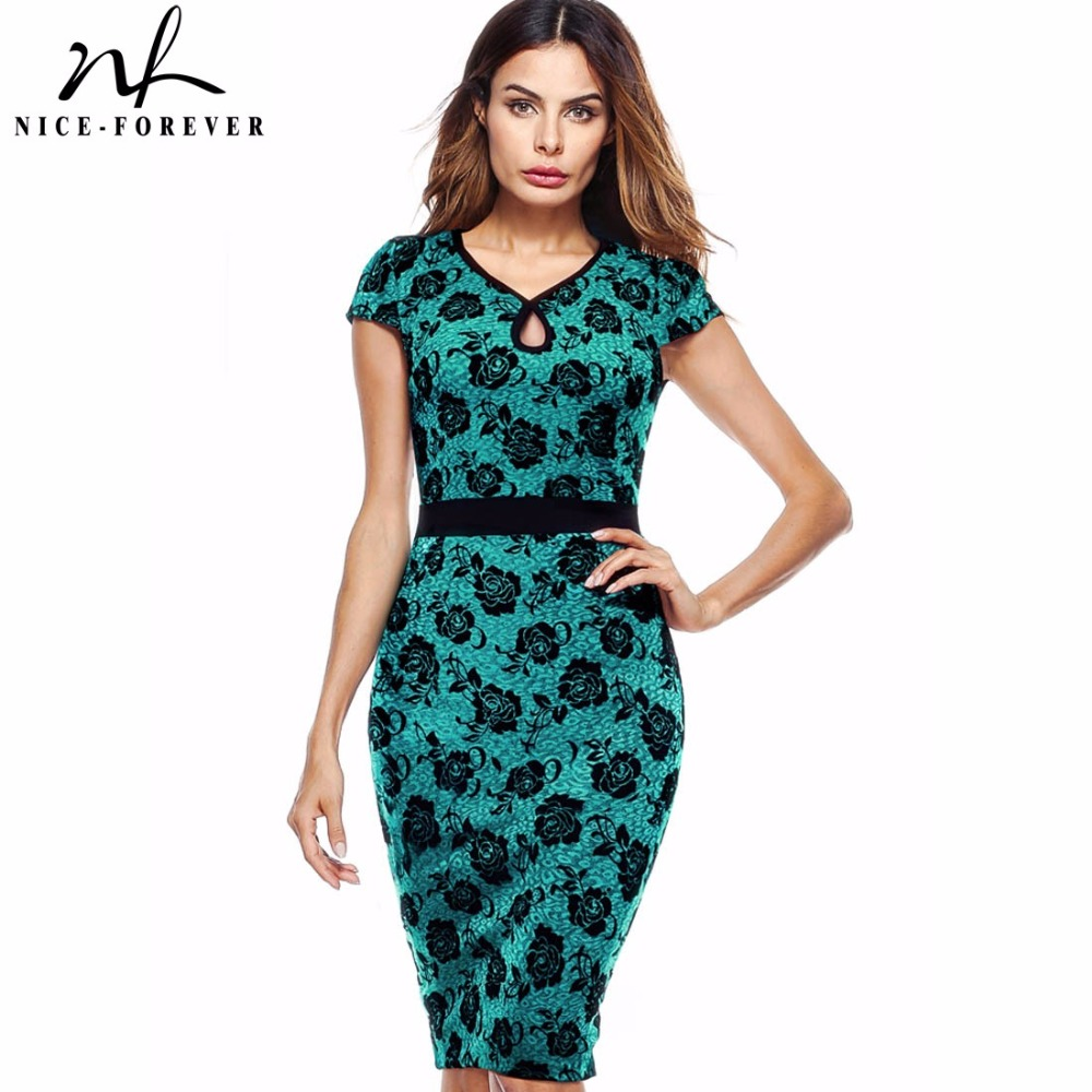 7bc693edd41 Nice-forever Vintage Elegant Contrast Flower Patchwork Bodycon Office Wear  to Work Business Casual Formal Women Dress B404