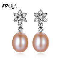 Wbmqda Woman 925 Sterling Silver Earrings High Quality Freshwater Pearl Classic Drop Earrings Plus Gift Box