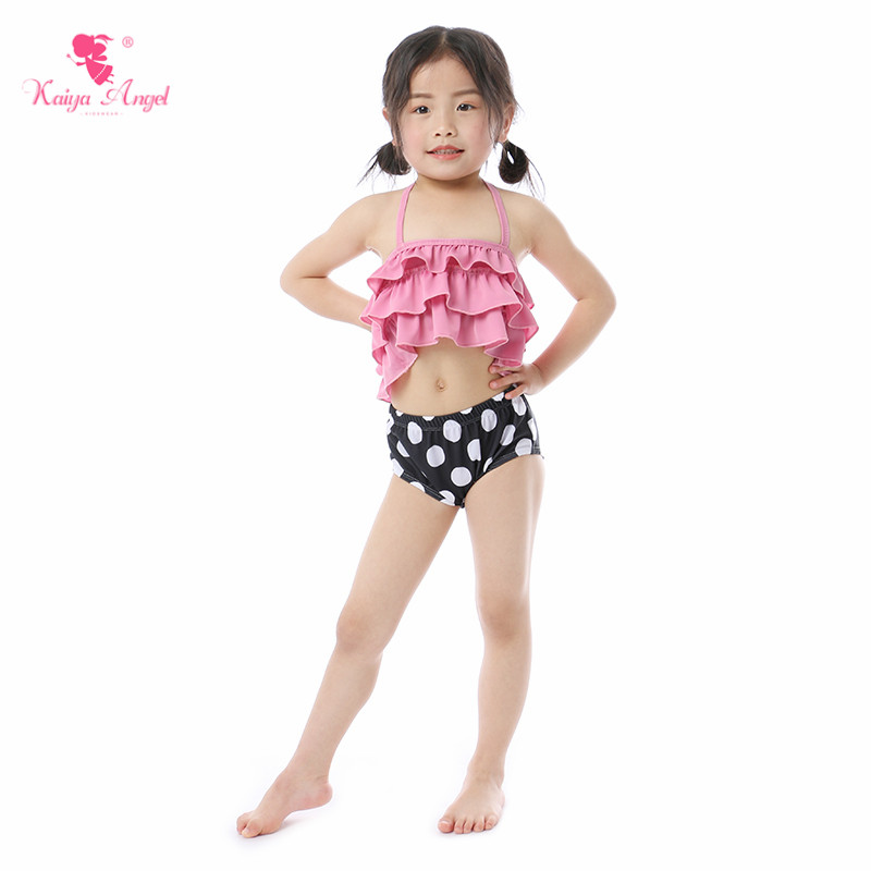 Kaiya Angel New Baby Girl Swimwear Beach Suits Toddler Summer Pink Biniki Belt Lovely Ruched Hot Sale 5pcs/lot Factory Wholesale
