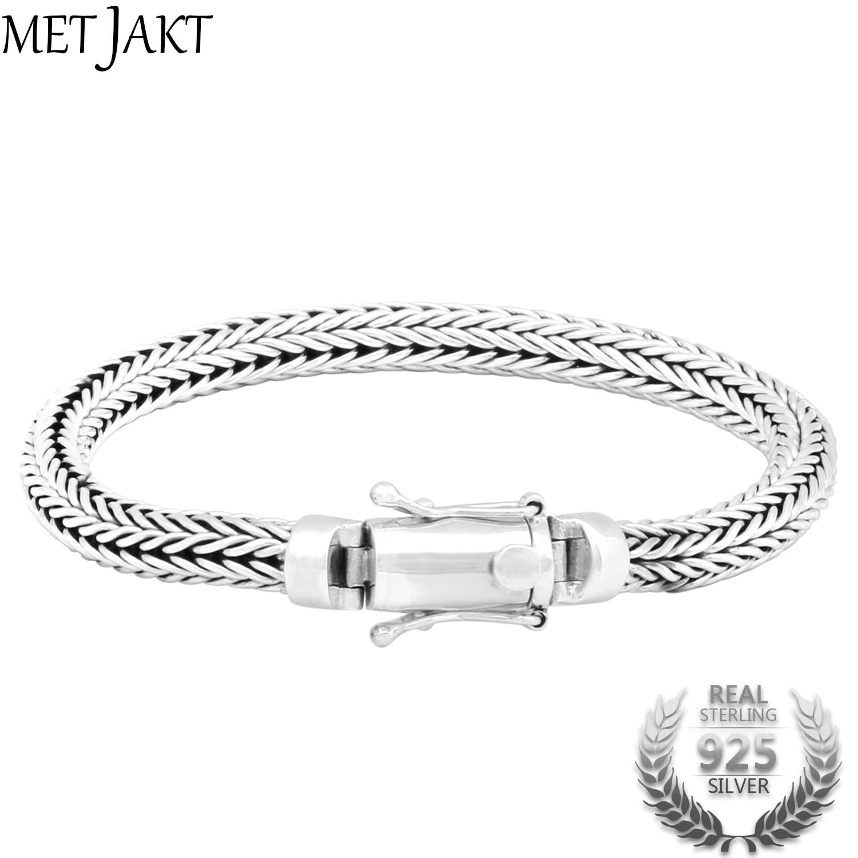 MetJakt Classic Handmade Real 925 Sterling Silver Unisex Energy Bracelet Link Friendship Bracelets Fine Jewelry 19cm mens bracelets 2018 friendship bracelets 9mm man bracelet silver 925