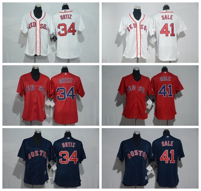 MLB women s Boston Red Sox Chris Sale David Ortiz jersey-in ... 75564f1685