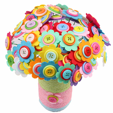 DIY Craft Home Decoration Children Felt Petals Educational Bouquet Room Kindergarten Kids Toy Button Flower Kit Random Color