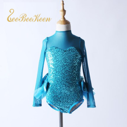 Stage & Dance Wear Reasonable Ballet Children Girls Long-sleeved Blue Sequin Jazz Modern Dance Dress Playful Jumpsuit Stage Professional Performance Clothes At Any Cost