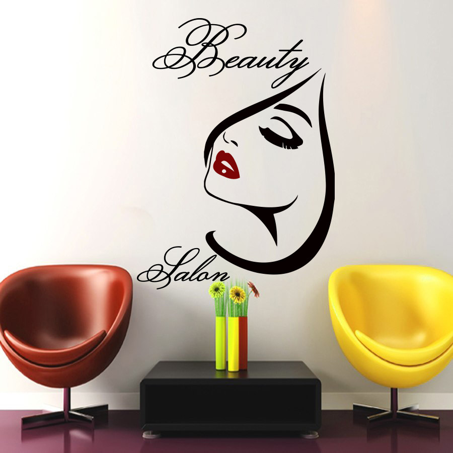 Beauty salon wall art girl decal vinyl decals wall sticker for Stickers salon design
