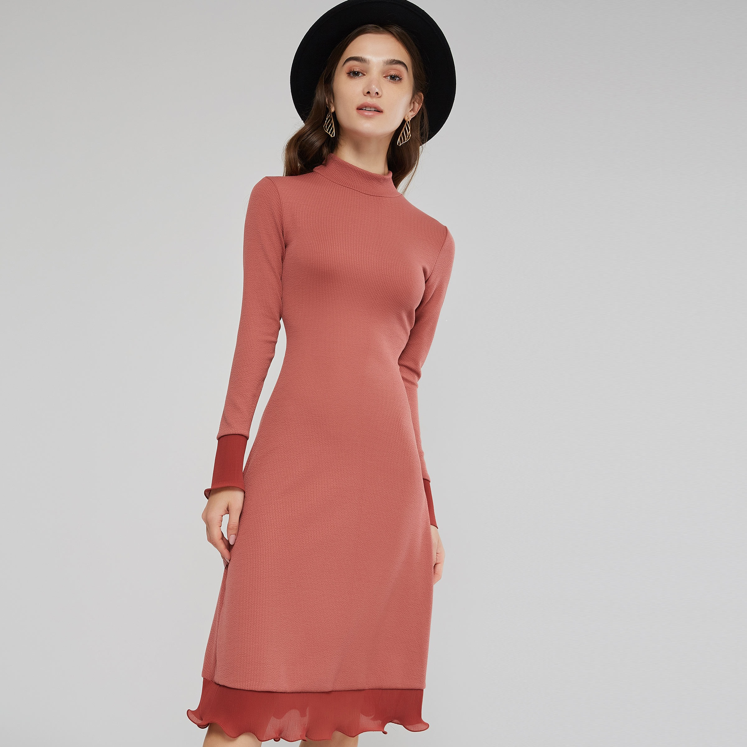 2019 Fall Elegant Sweet Office Lady Preppy Style Women Dresses Aline Pullover Plain Female Fashion Pink Falbala Dress