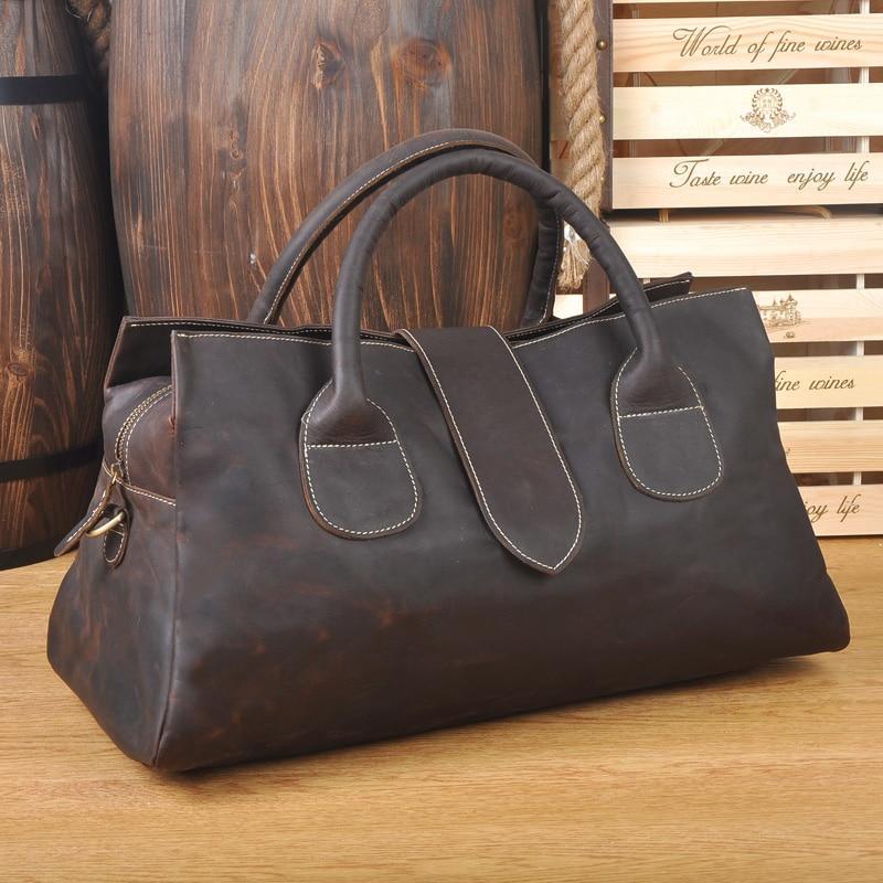 Cowhide Genuine Leather Travel Tote Women or Men Vintage Carry On Travel Duffle Bag Weekend large shoulder bags Travel Bag