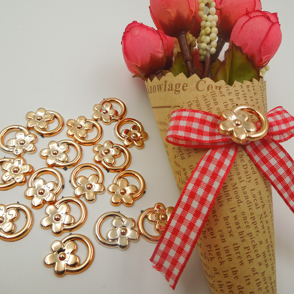 17/14mm,30pcs AA uv plated rose gold no fade ribbon buckles acessories Invitation Ribbon ...