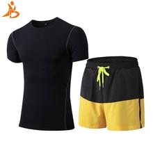 YD 2017 Logo Custom Compression Running Set Quick Dry Gym Sportswear Fitness Tight Short T Shirt Shorts Men Tracksuit Sport Suit