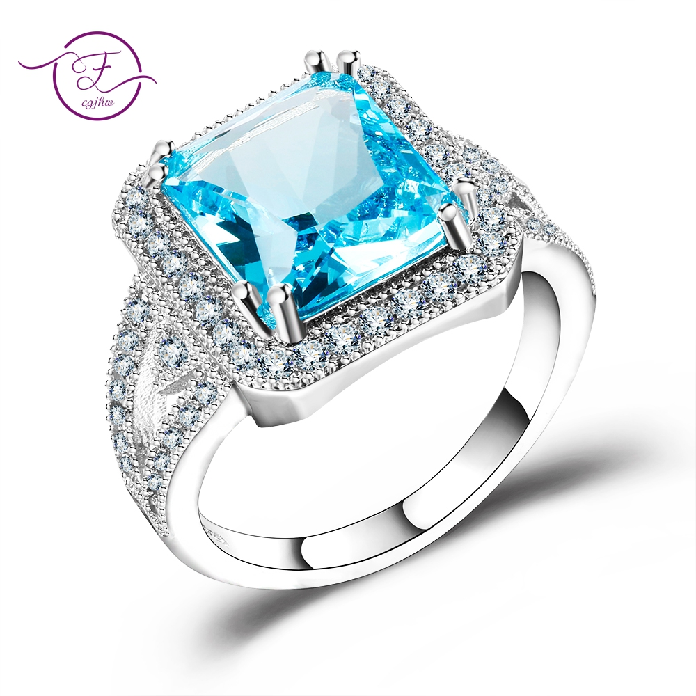 New Fashion Sky Blue Topaz Wedding Anniversary Rings For Women 100% 925 Sterling Silver Jewelry With  Austrian AAAA CZ Wholesale