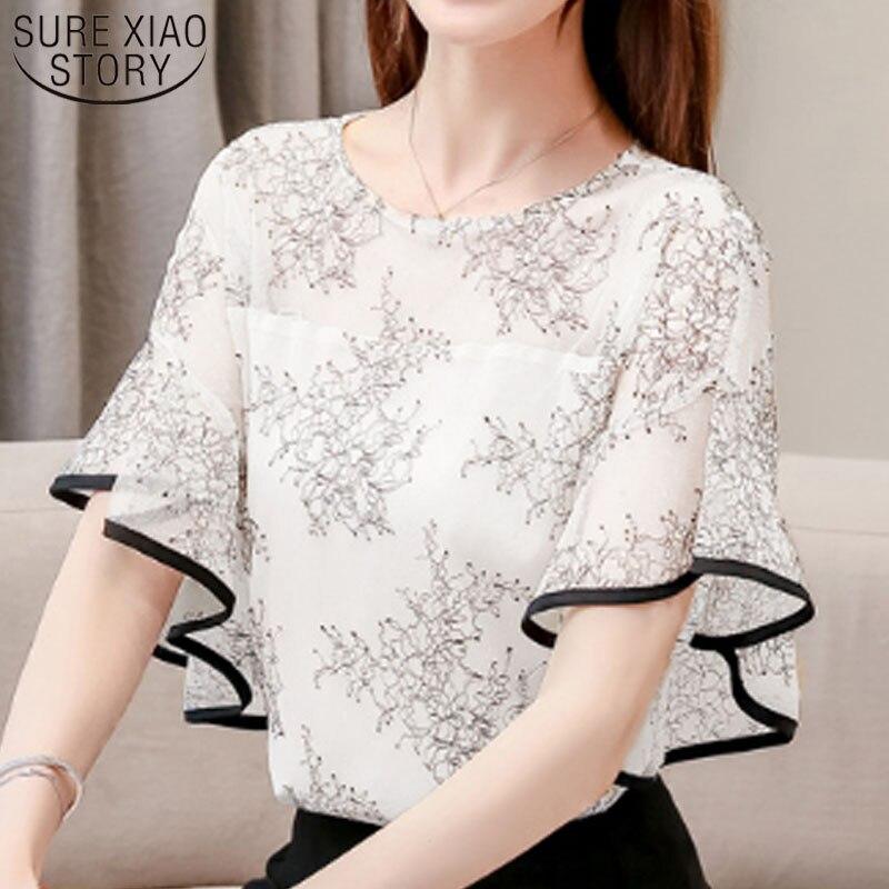 Short Sleeve Mesh Stitching Hollow Lace Women Blouse Women Summer Blosues 2019 Women Shirts Flare  Shirt Womens Clothing 3546 50