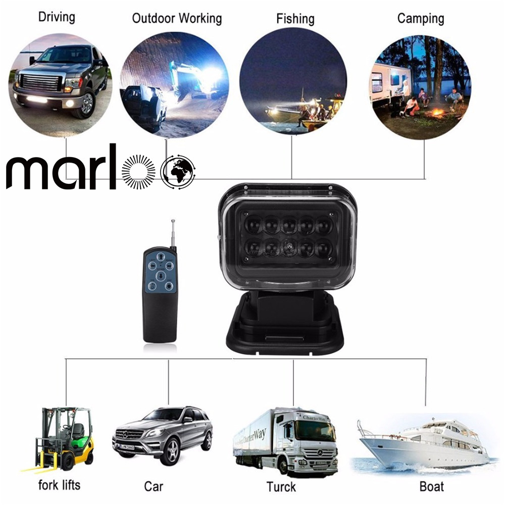 Marloo 360 Rotating 50W Led Search Light Remote Control Spot Work Light For Off road Vehicles or Trucks Boat etc