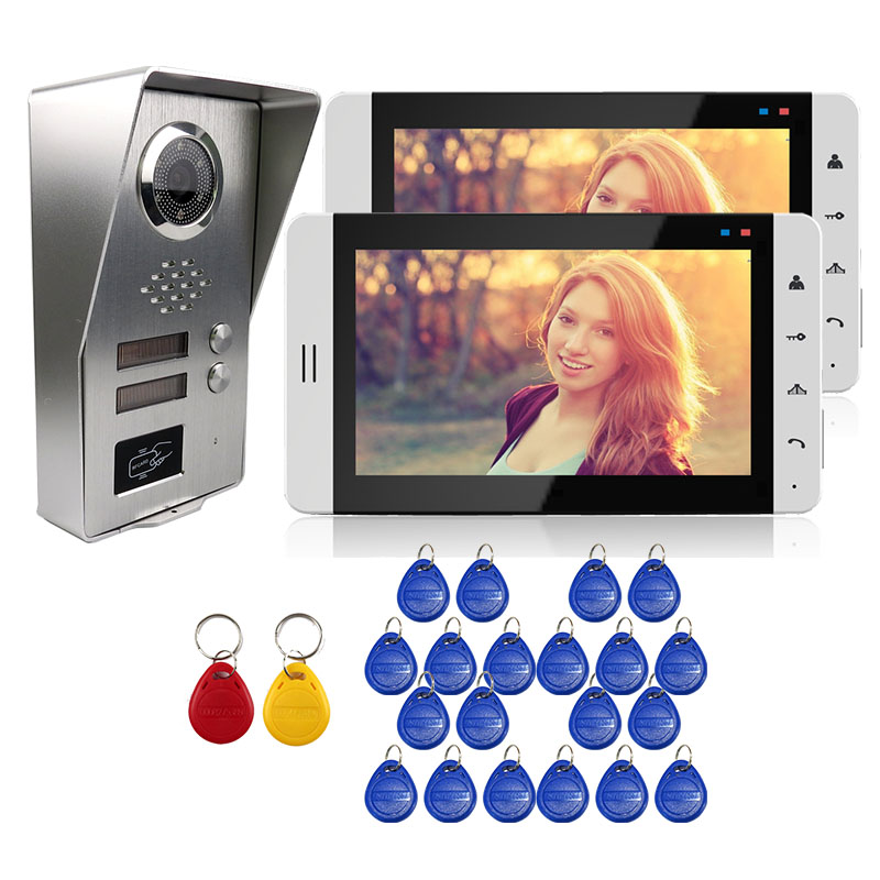 FREE SHIPPING 7 Touch LCD Screen Video Door Phone Intercom System 2 Monitors + Outdoor RFID Doorbell Camera for 2 Apratments