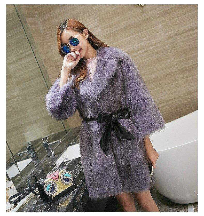 Горячие продажи Европейской моды натуральный Лисий Меховые пальто Для женщин длинные волосы Мода натуральным лисьим Меховые пальто Куртки