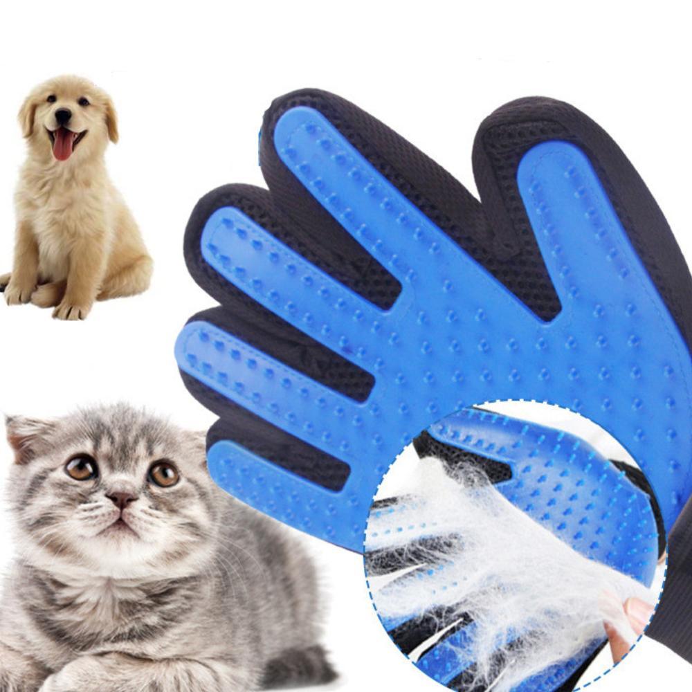 Guante de silicona para quitar el pelo de perro, peine de uso suave para mascotas, guantes para aseo, peine de limpieza para el cabello, proveedor eficiente de mascotas para masaje