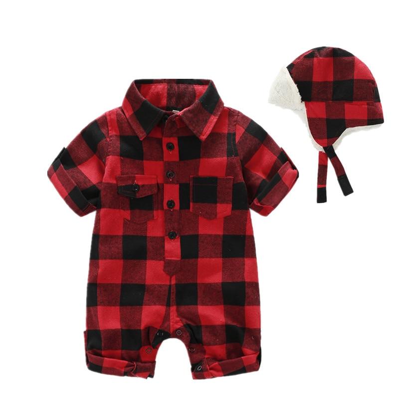 Newborn Baby Boy Clothes Short Sleeve Plaid Kids Rompers + Plus Velvet Hat Free Classic Baby Newborn Clothes Baby Onesie
