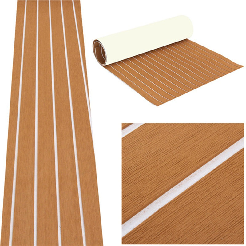 EVA Foam Teak Sheet Self Adhesive Boat Yacht Syn thetic Decking 0.6cm 89x230cm Foam <font><b>Floor</b></font> Mat Brown With White Line