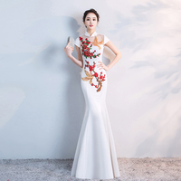 White Chinese Style Bridesmaid Wedding Qipao Oriental Female Long Slim Mermaid Dress Vestidos Novelty Short Sleeve Cheongsam