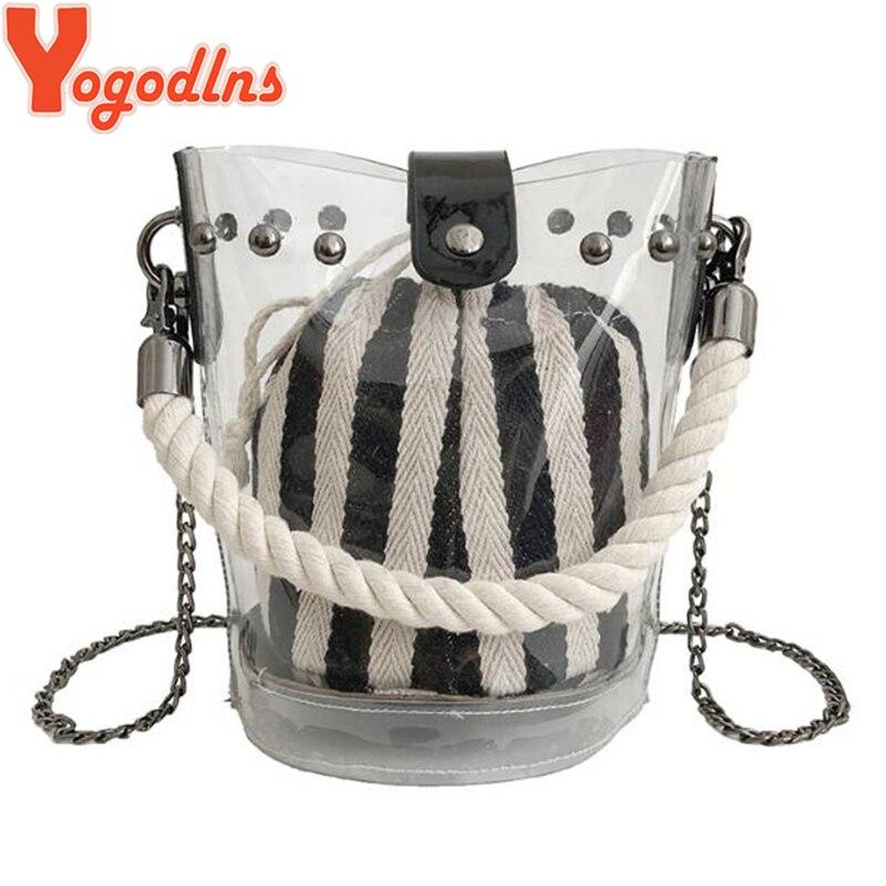 Yogodlns Fashion Women Handbags Transparent Jelly Bag 2019 New Chain Crossbody Bucket Bags Females Beach Bags Composite Bag