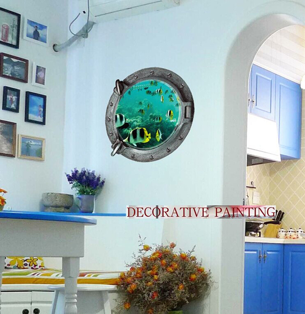 Wall Paintings 3D Three Dimensional Wall Stickers Tropical Fish Wall  Sticker For Home Hotel Room
