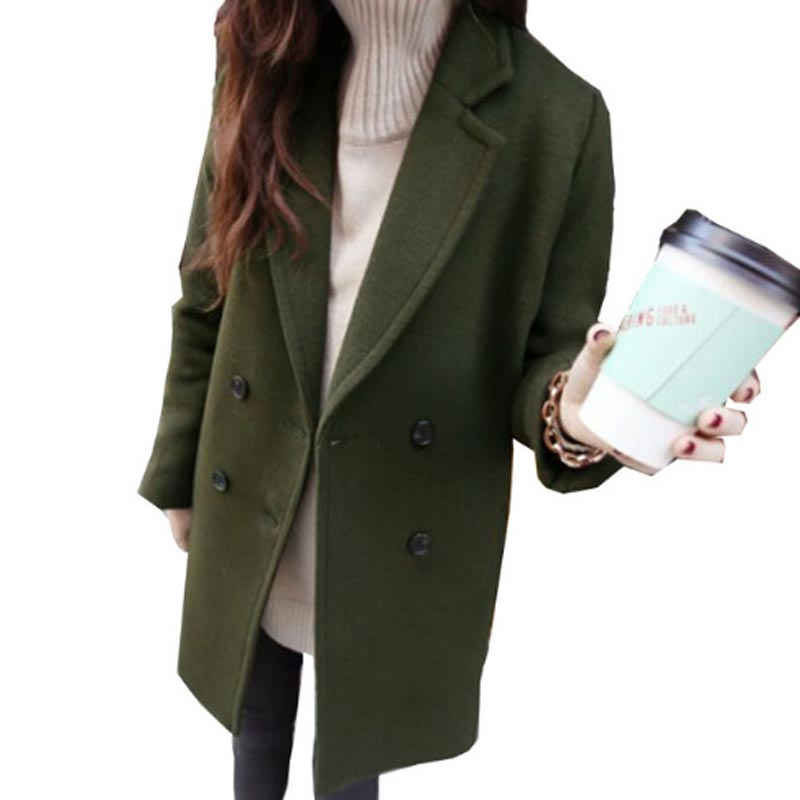 Winter Cocoon Coat Women Famale Woolen Female Coats Casual Long Coat 2018 Spring Autumn Slim Artificial wool Outerwear Casaco