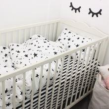 3pcs a set baby bedding set black star and stripe design 100% cotton kids bedding set customized for newborn girls and boys