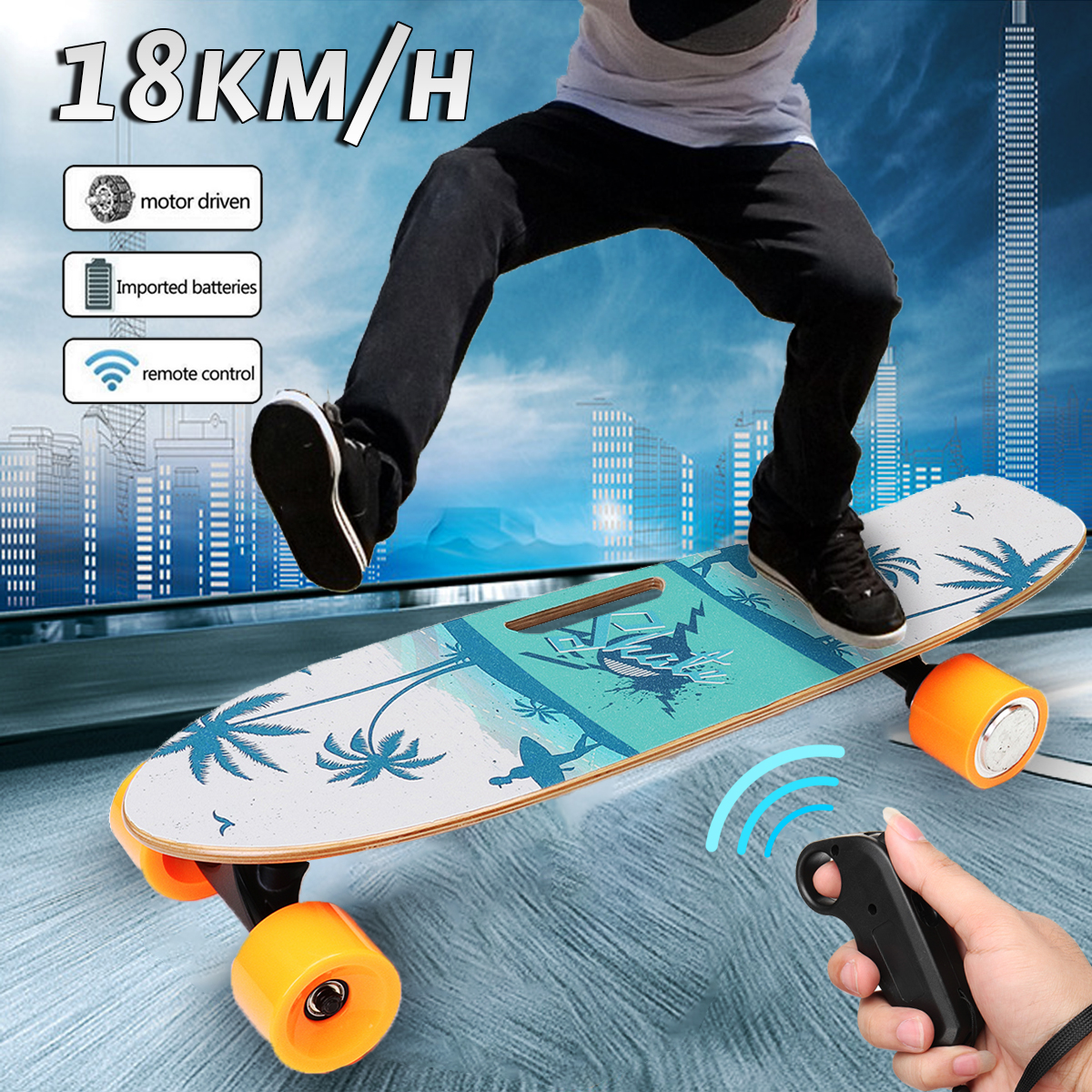 NEW 250W Electric Skateboard Long Board 15km/h Wireless Skate Remote Control Outdoor Street Summer Sport RC Maple Skateboard Sea