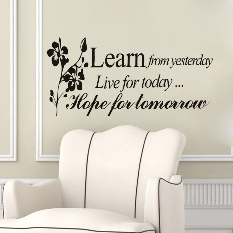 Fashion Design Learn From Yesterday Family Love Art Wall Quotes Wall  Stickers Wall Decals Removable Home