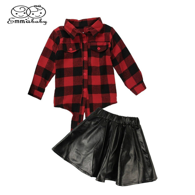Summer & Autumn Fashion 2PCS Girls Kids Plaid Tops Shirt Leather Black Short Skirt Outfits Clothes Streetwear Set dabuwawa autumn women fashion sexy plaid skirt elegant mini pleated skirt short streetwear asymmetrical skirt d17csk031 page 2