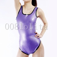 Latex Rubber Gummi Purple Fitness Surrounding is Black Size XXS~XXL