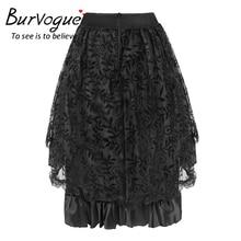 Burvogue New Summer Style Fluffy Skirt for Women Skirts Lace Midi Skirt with Zipper Black Fluffy Skirt for Shipping