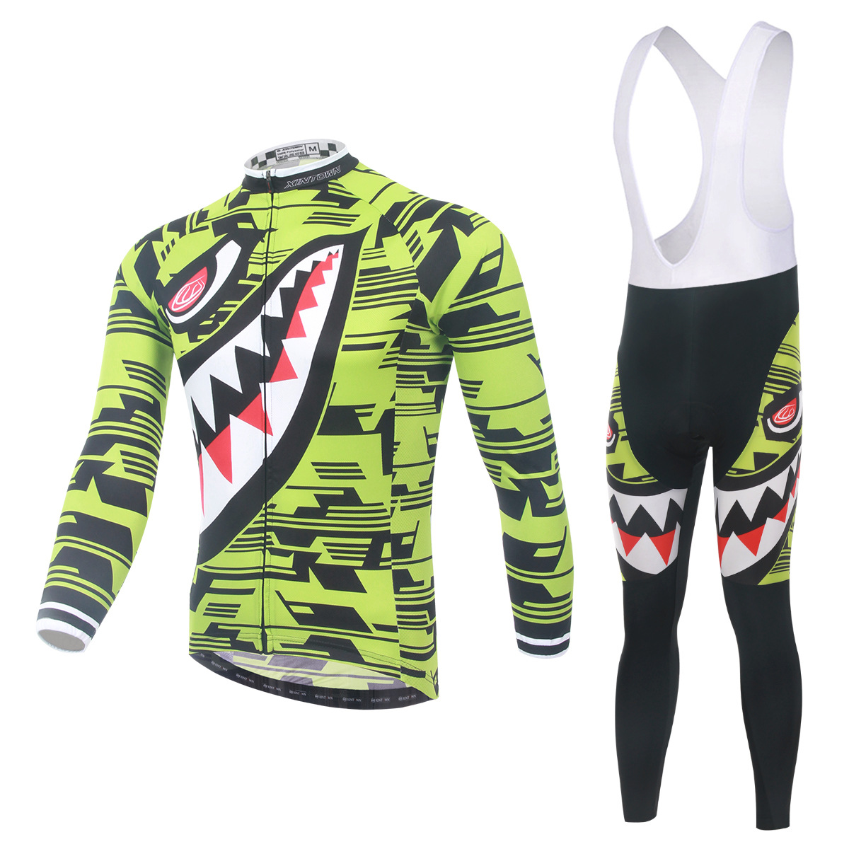 цены  Cycling Set Long Sleeve Jersey and Bib Pants 3D Pad Pro Men Anti-sweat Yellow Shark Ciclismo Bike Suit Bicicleta Bicycle Jersey