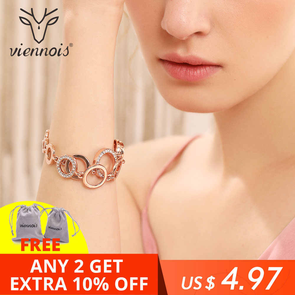 Viennois Rose Gold Circles Bracelet & Bangles For Women Rhinestones Paved Double Layer Round Female Wedding Jewelry 3 Colors