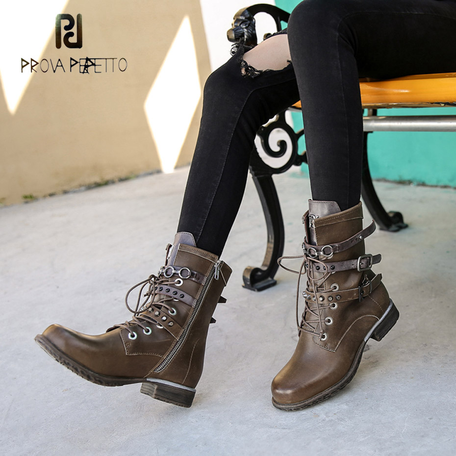Prova Perfetto newest cow genuine leather thick sole motorcycle boots women rivet lace up martin comfortable punk short boots prova perfetto 2018 newest genuine leather short boots women rivet belt strap platform flats knigh boots punk style boots female