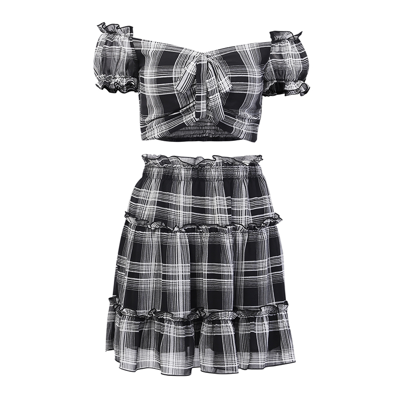 InstaHot Plaid Two Piece Sets Crop Tops Puff Sleeve High Waist Pleated Chiffon Skirts Ruffles Bow Sexy Vintage Casual Women Sets in Women 39 s Sets from Women 39 s Clothing