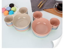 1PC Mickey Wheat Straw Kids Kitchen Bowl FDA Healthy Cute Bowl Meal Plate Sub-grid Fruit Plate Food Dish Tableware OK 0562 ouneed happy home 1 piece for dumplings healthy green wheat straw double layer vinegar dish dumpling plate fruit dish